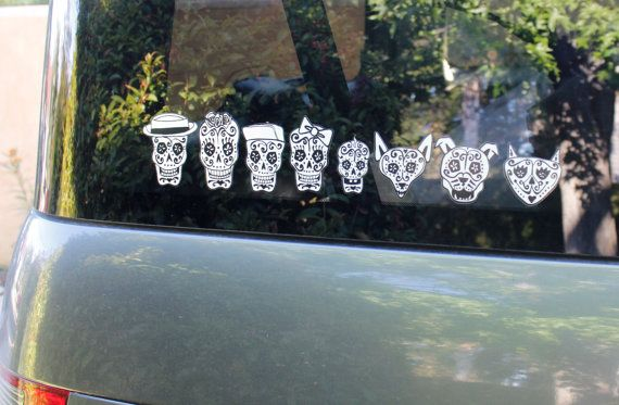 Day of the dead art sugar skulls car stickers 77 84