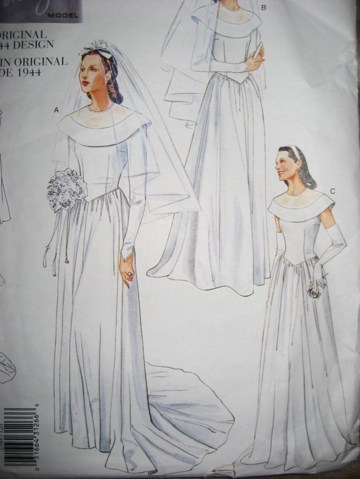 247 best wedding dress patterns images on Pinterest | Vintage sewing ...