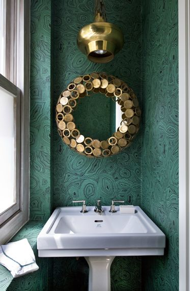 Jorge Varela - turquoise geode wallpaper, brass pendant lamp, circular brass framed mirrorWall Colors, Pendants Lamps, Powder Room, Guest Bathroom, Small Bathroom, Interiors Design, Malachite Wallpapers, Tiny Bathroom, Bathroom Wallpapers