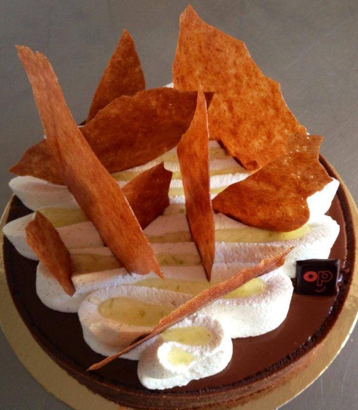 Chocolate ganache tart with cream, vanilla and praline shards - Image by Christophe Felder Pâtissier