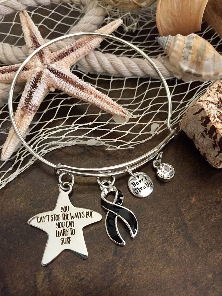 Melanoma Cancer Awareness Bracelet - Silver Adjustable Wire & Charms - Black Ribbon Survivor Gift - Learn to Surf / Surgery Chemo by RockYourCauseJewelry on Etsy