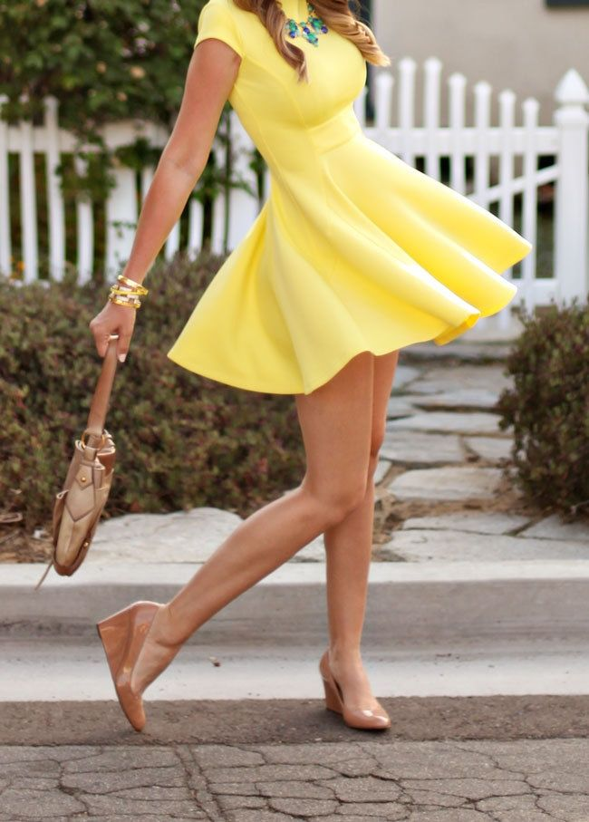 Yellow Skater + Nude Wedges