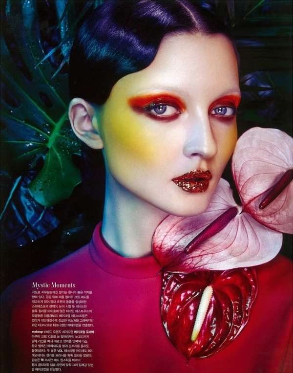 This Editorial for Heren Magazine Features Bright Glittery Make #hair trendhunter.com