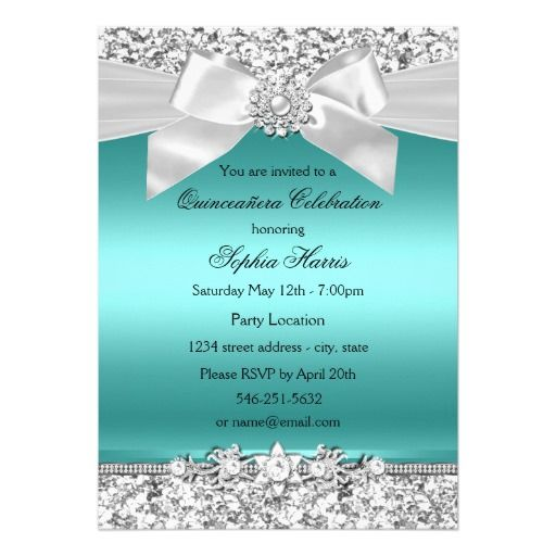 Silver Teal Glitter & Jewel Bow Quinceanera 5x7 Paper Invitation Card