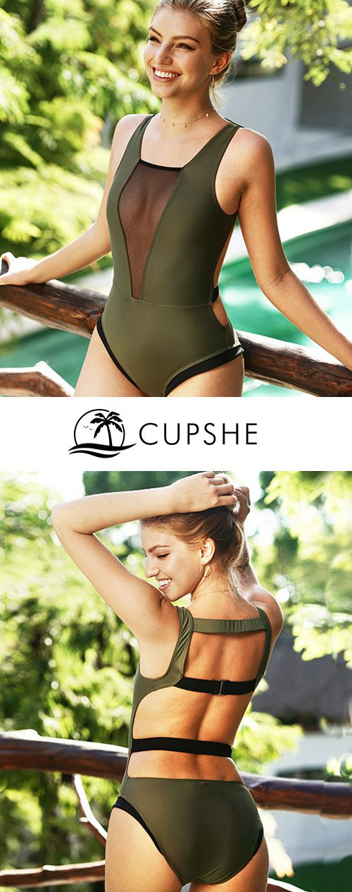 Cupshe Glad You Are Here One-piece Swimsuit. Don't let go easily of every chance to meet the sparkling you! Dark green one-piece swimsuit with mesh splicing is perfect to brighten any look. Choose this style and find inspiration here.
