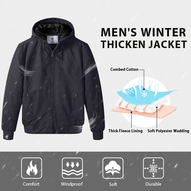 WenVen Mens Thickened Cotton Quilted Casual Winter Jacket with Detachable Hood