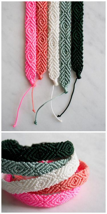"""DIY Diamond Pattern Friendship Bracelet Tutorial from The Purl Bee. This is just the diamond pattern flipped to the """"wrong side"""". This is not a beginner project, but rather for someone who has made a few friendship bracelets. Use this idea of using 1 color of floss for a different look.This Purl Bee post only has pay patterns/kits (I felt misled after reading their post and clicking through their link to find this out - and that the kits were up to $27.50). ***You can google """"diamond…"""