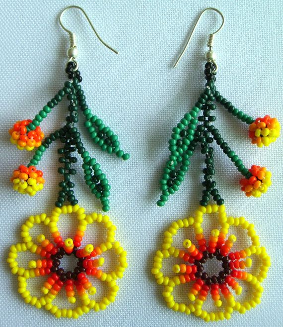 Mexican Huichol Beaded flower earrrings by Aramara on Etsy, $6.70
