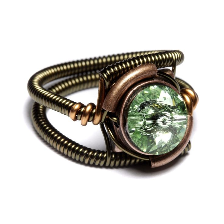 Steampunk Jewelry  RING  Chrysolite Green by CatherinetteRings, $40.00