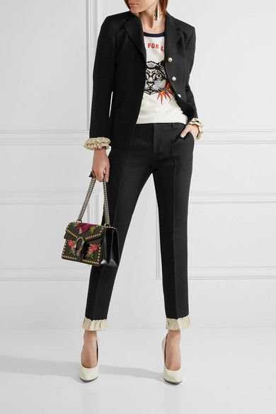 Gucci - Ruffle-trimmed Silk And Wool-blend Skinny Pants - Black