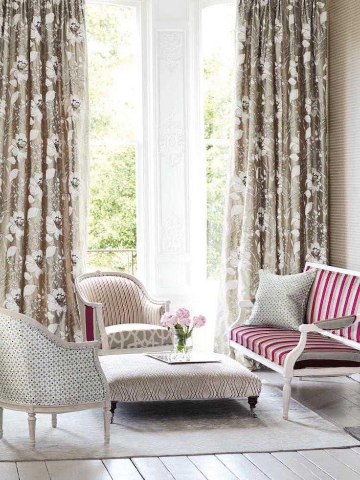 rideaux salon chic en couleur mtallique motifs blancs - Rideaux Salon