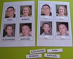 Association photo / prénom : retrouver sa photo, associer prénom et photo, retrouver son étiquette prénom avec la photo, puis sans la photo...