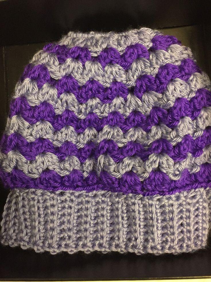 Messy bun hat done 3 January, 2018