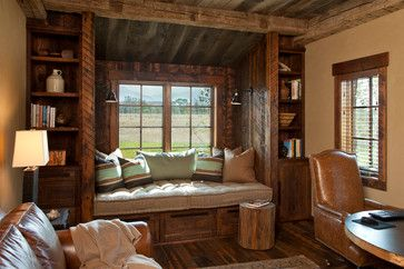 Love this built in!  Jack Creek Sports Barn - Rustic - Home Office - Other Metro - Van Bryan Studio Architects