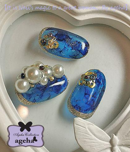 サイドエッジパール&琥珀・ブルーアンバー の画像|ネイルアーティスト ageha ネイルブログ