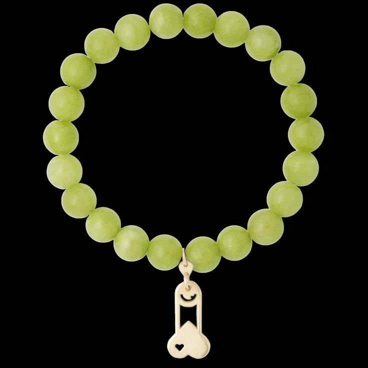GOLD CHARMS WITH GREEN BRANSLET