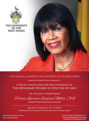 Portia Simpson Miller to receive Honorary Degree from The UWI