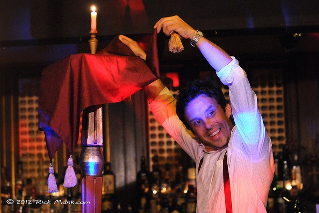Magic- Adrian Dean floating tables at the Victoria Room. Photo: Rick Monk