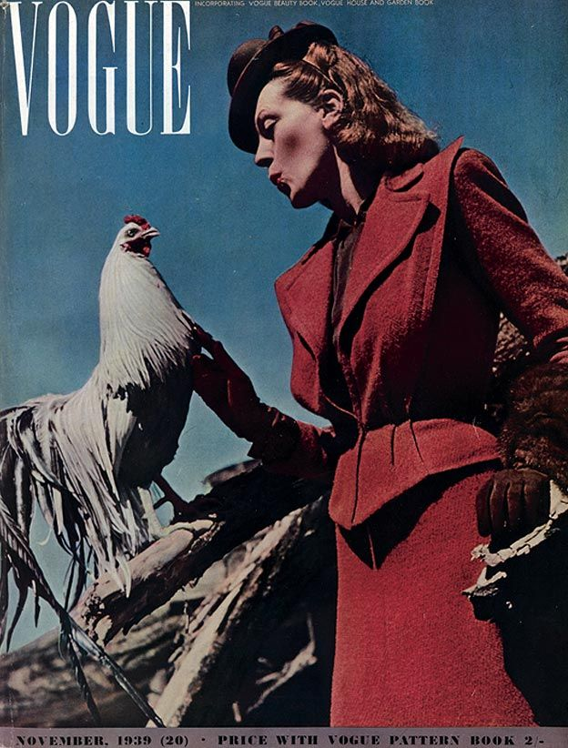 Vogue UK, November 1939 #cover #vintage #thirties #1930s #rooster #skirt_suit