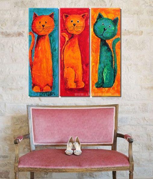 Ministry of Shop: Quadri con teneri gattini dipinti a mano olio su tela con telaio (SJMY2847) € 54,69
