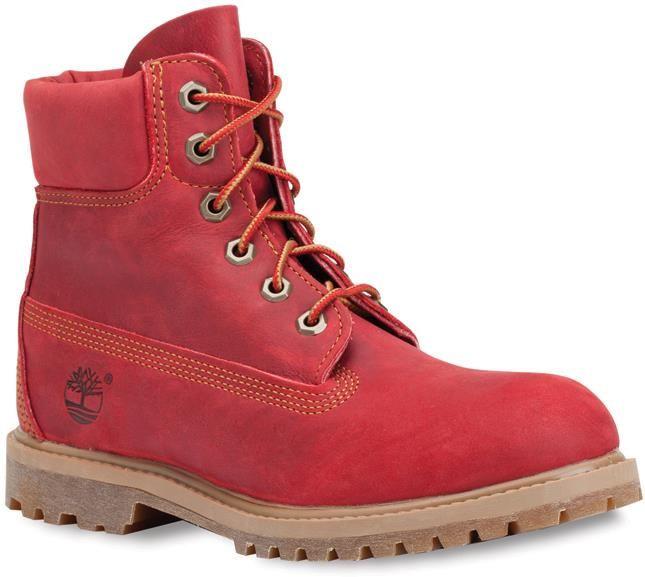 Ботинки красные женские