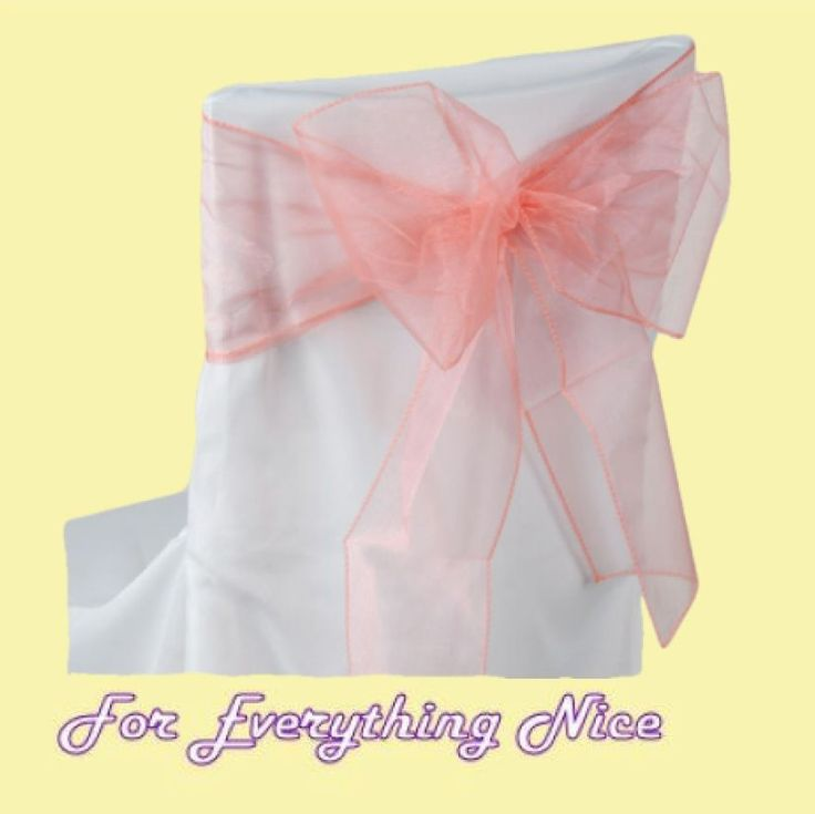For Everything Genealogy - Coral Organza Wedding Chair Sash Ribbon Bow Decorations x 10, $25.00 (http://foreverythinggenealogy.mybigcommerce.com/coral-organza-wedding-chair-sash-ribbon-bow-decorations-x-10/)