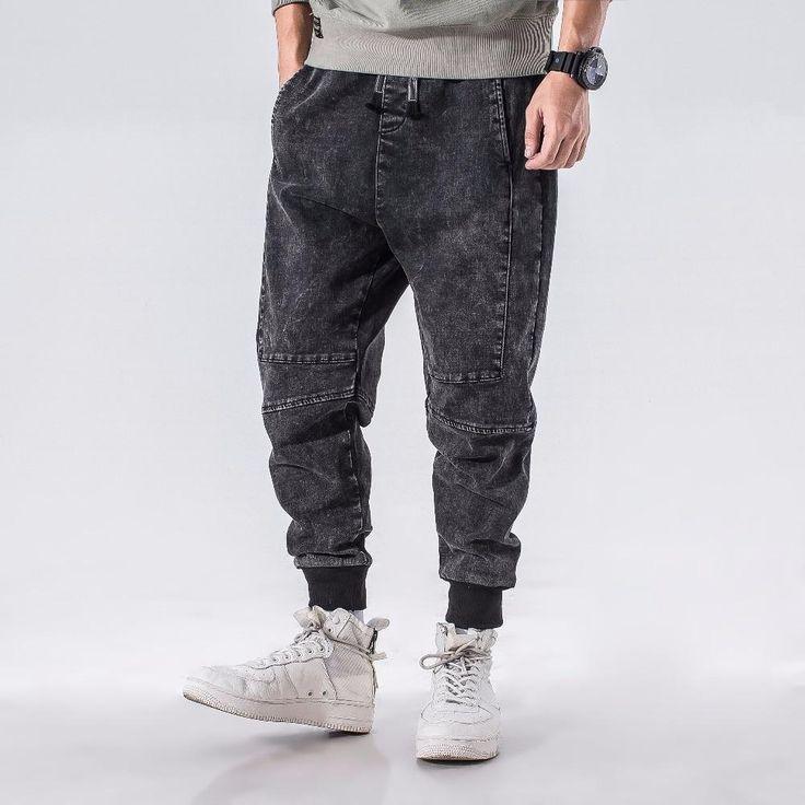 Loose harem slightly stretch big size baggy jeans baggy