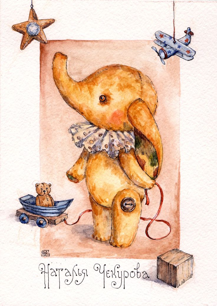 bears dolls toys watercolor postcards мишки ручная работа открытки