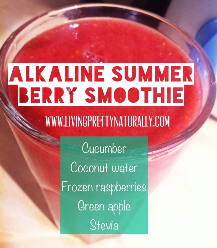 Alkaline Summer Berry Smoothie Recipe 1/2 a cucumber, 1 cup of frozen raspberries, 1 small green apple (or 1/2 a large one), 3/4 cup of coconut water and 5 drops of liquid stevia