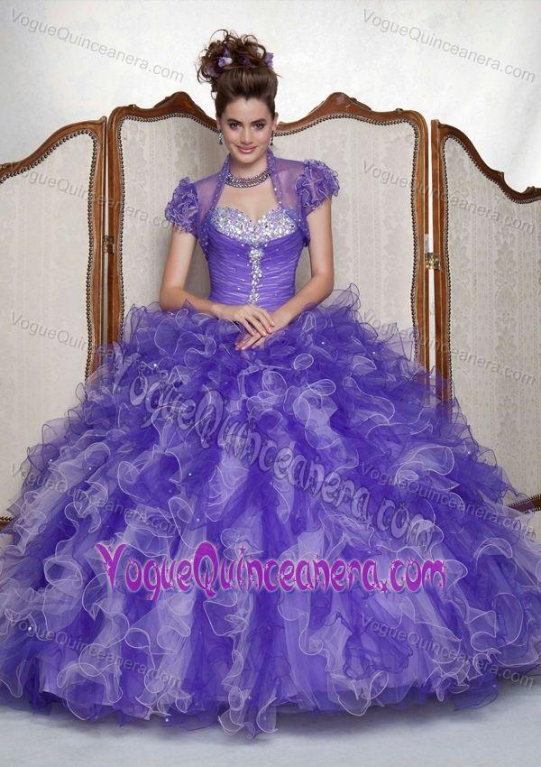 High Quality Beaded Ruffled Organza Sweet 16 Dress in Slate Blue in Burnsville Center