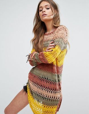 oversized open knits will always look good with denim shorts. Probably has to be my favorite summer look Noisy May Open Weave Knit Tunic