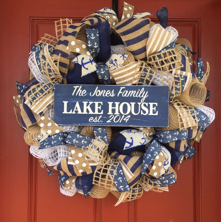 A personal favorite from my Etsy shop https://www.etsy.com/listing/272981354/custom-nautical-wreath-custom-lake-house
