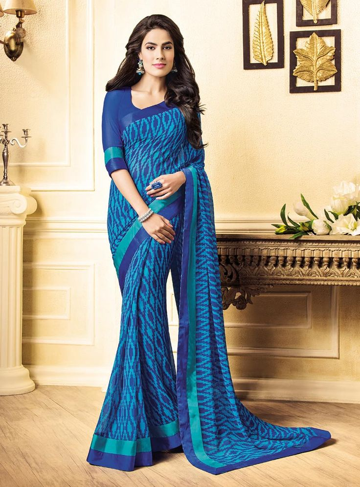 Blue Georgette Printed Saree With Blouse 85320