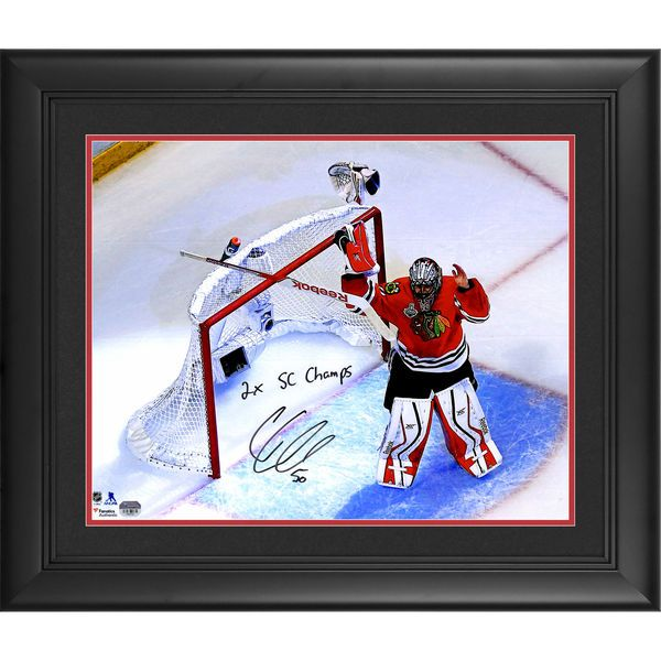 "Corey Crawford Chicago Blackhawks Fanatics Authentic Framed Autographed 16"" x 20"" 2015 Stanley Cup Finals Celebration Photograph with 2x SC Champ Inscription - $269.99"