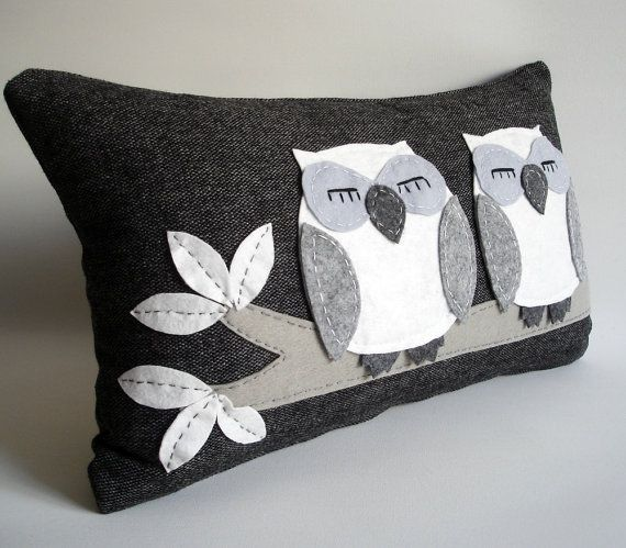 Night Owls Felt Pillow Cover by Sukan