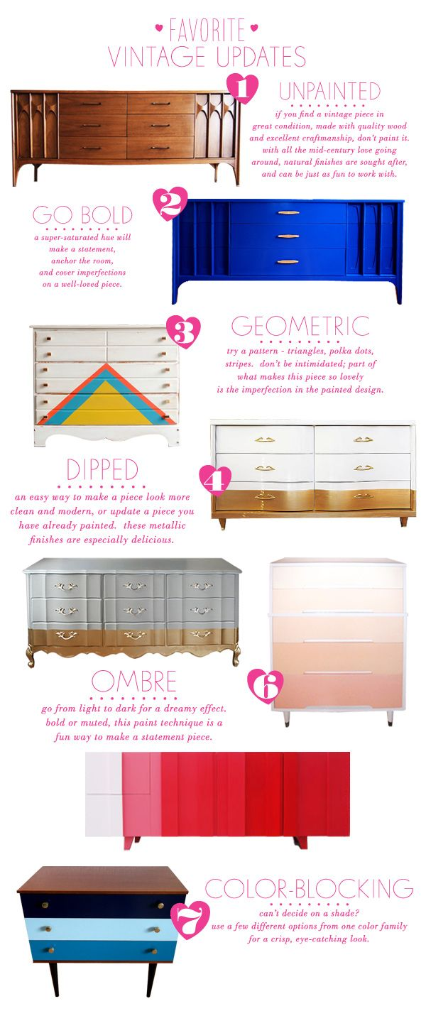 Cut decorating costs by using vintage furniture! Style Spotter Joni Lay shows her favorite ways to update dressers: http://www.bhg.com/blogs/better-homes-and-gardens-style-blog/2013/04/24/fun-options-for-updating-vintage-pieces/?socsrc=bhgpin042913vintagedressers