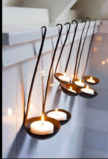Clever DIY Lighting for the Kitchen or Outdoor areas! Hang new or vintage ladles, and fill with tea candles. So easy!