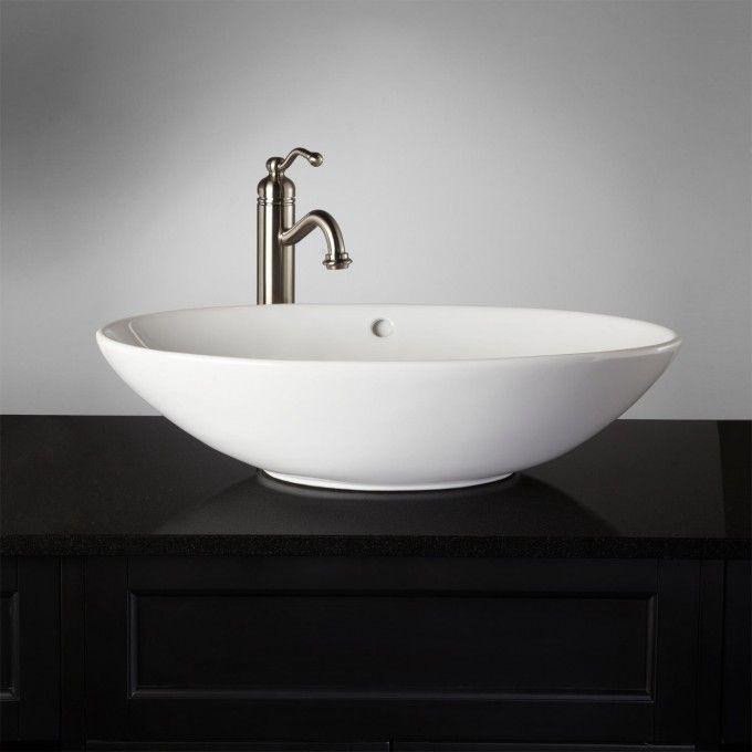 Phelan Porcelain Vessel Sink - White - Bathroom