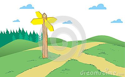 The illustration shows an intersection of narrow country roads with a pointer on a background of green hills and forests