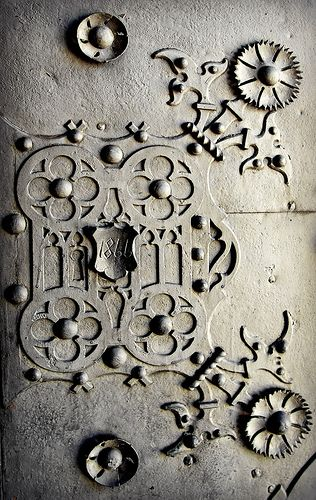 Door, 1866 Sopron, old town. Gothic and Neo-Gothic St Michael Church. - Hungary
