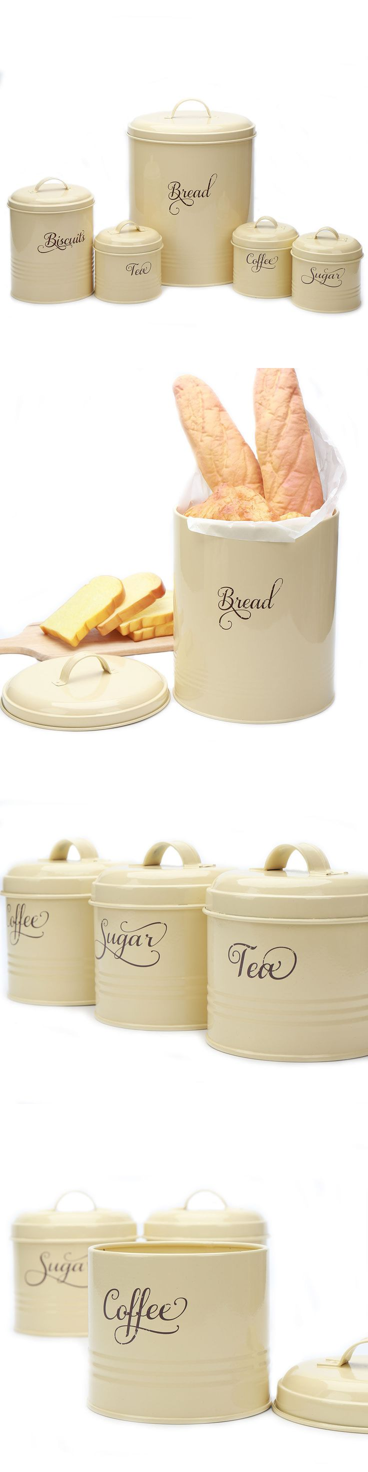 Canisters and Jars 20654: X687 Set 5 Storage Canisters Metal Sugar Coffee Tea Tin Bread Bin Container Box -> BUY IT NOW ONLY: $34.9 on eBay!