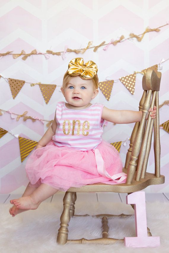 Birthday Gold and Pink Tutu Dress by Lilgigglescouture on Etsy