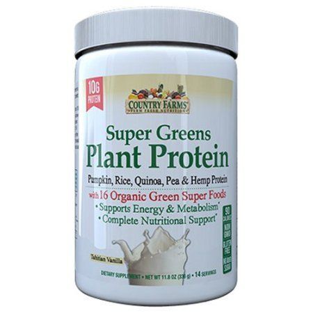 Country Farms Super Greens Plant Protein Tahitian Vanilla Dietary Supplement Powder, 11.8 oz - Walmart.com
