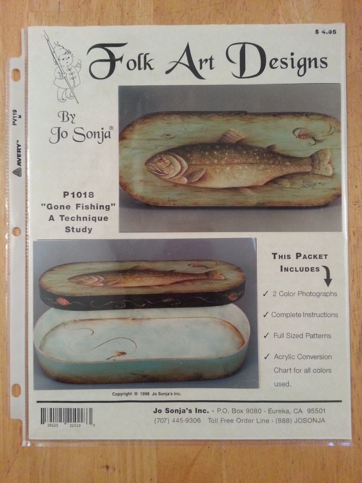 Folk Art Designs Gone Fishing Tole / Decorative Painting Packet by Jo Sonja by Noahslady4Patterns on Etsy