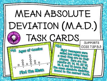 Mean Absolute Deviation Task Cards is a set of task cards that are designed to help students practice mean, dot plots, mean absolute deviation,  absolute value and story problems related to these concepts.