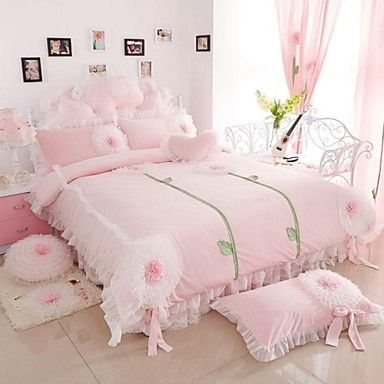 FADFAY@Korean Pink Velvet Bedding Set Romantic Sunflower Lace Ruffled Duvet Cover Set Queen – EUR € 141.81