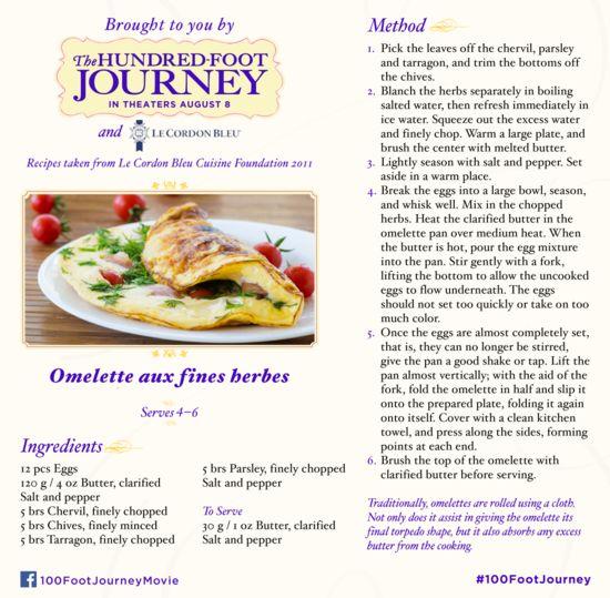THE HUNDRED-FOOT JOURNEY: Omelette Recipe #100FootJourney