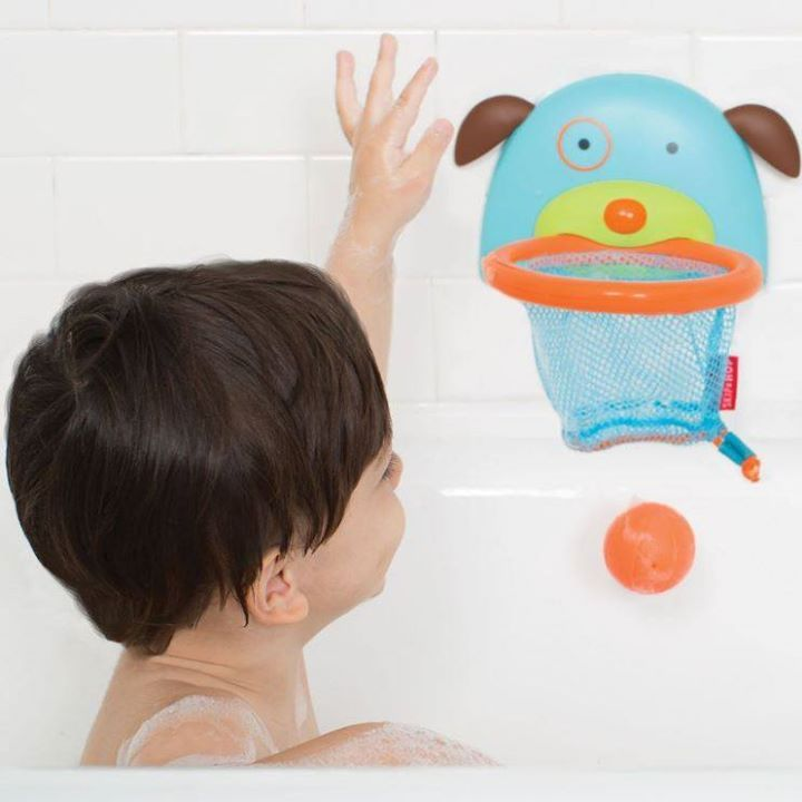 Slam dunk! The new Bathtime Basketball set attaches easily to glass or tile, making it oh so easy to splash and score! It comes with three ball squirties that store right in the drawstring net when tub time is over!