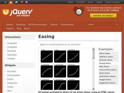Отдельный плагин jQuery Ui в виде минимизированного jQuery Easing определяющего поведение анимации, применяется для любых элементов и компонентов Bootstrap.