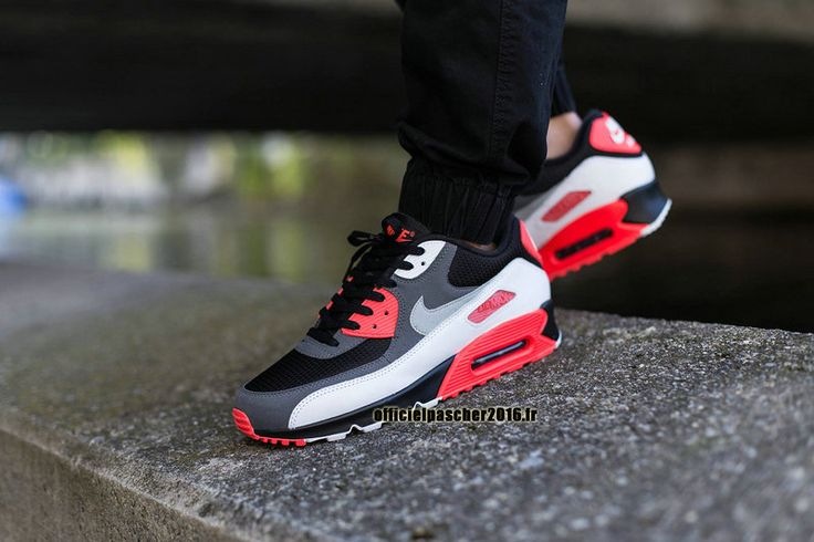 Officiel Nike Air Max 90 SJX Chaussures Nike Sportswear Pas Cher Pour Femme Noir - gris foncé - Rouge - Blanc